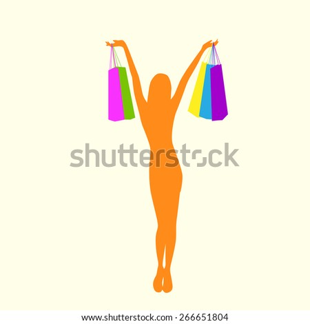 Shopping Woman Silhouette with Colorful Bags Flat Vector Illustration - stock vector