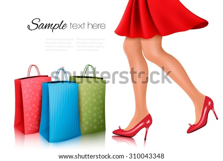 Shopping woman wearing red dress and high heel shoes with shopping bags. Vector illustration. - stock vector