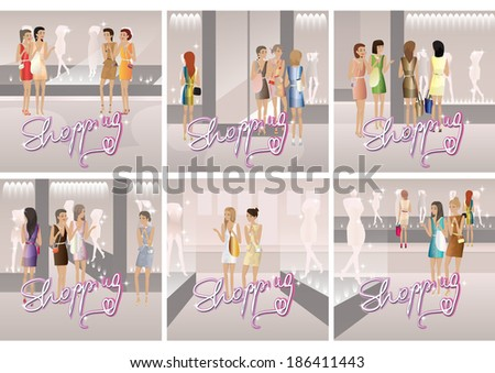 Shopping Women - Vector Illustration, Graphic Design Editable For Your Design