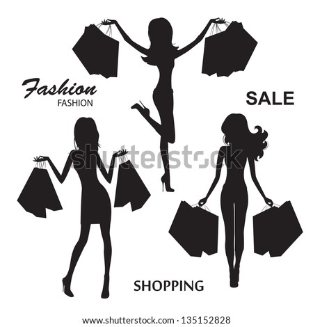 Shopping. Young fashionable woman. Silhouettes on white background. Vector illustration - stock vector