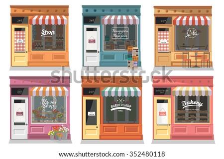 Shops and stores facade icons set in flat design style. Shop, Newspaper shop, Cafe, Barber, Flower shop, Bakery. Vector illustration - stock vector