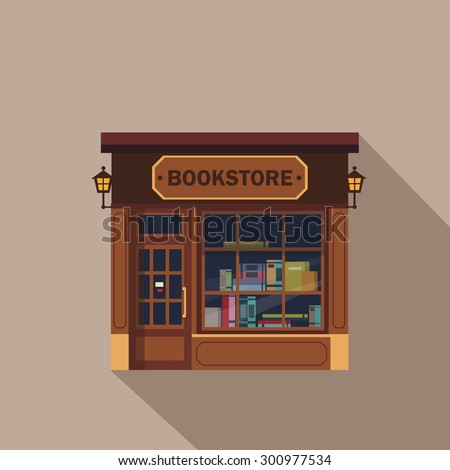 Shops facade, storefront vector detailed flat design - stock vector