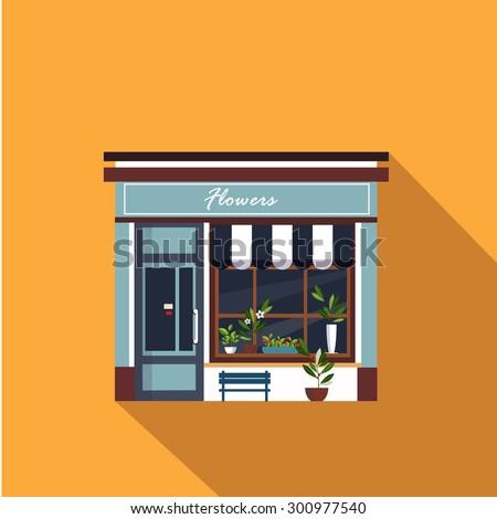 Shops facade, storefront vector detailed flat design - stock vector