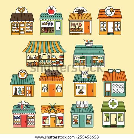 Shops icon set. Vector - stock vector