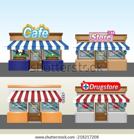 Shops, pharmacy, hairdresser. Eps 10 - stock vector