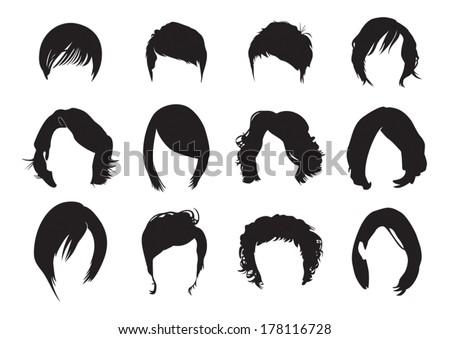Short hair silhouette - stock vector