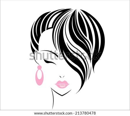 Short hair style icon, logo women face on white background. - stock vector