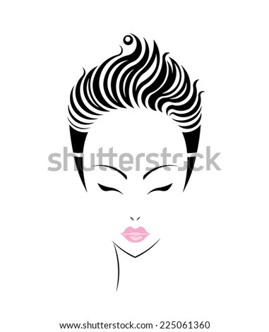 Short hair style icon, logo women face on white background, vector - stock vector