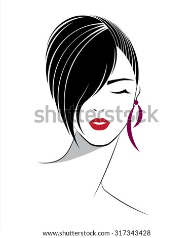short hair style icon, logo women face on white background, vector - stock vector