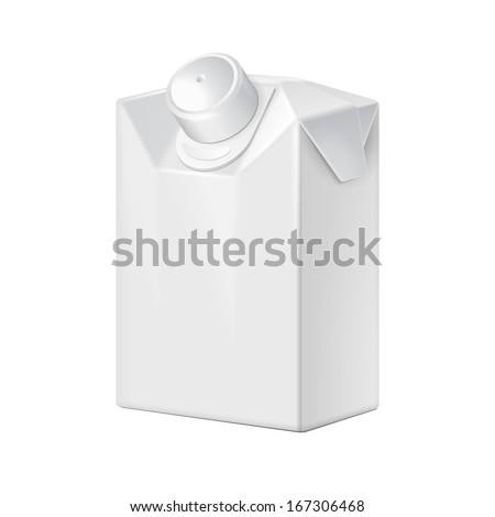 Short Milk, Juice, Beverages, Carton Package Blank White On White Background Isolated. Ready For Your Design. Product Packing Vector EPS10  - stock vector