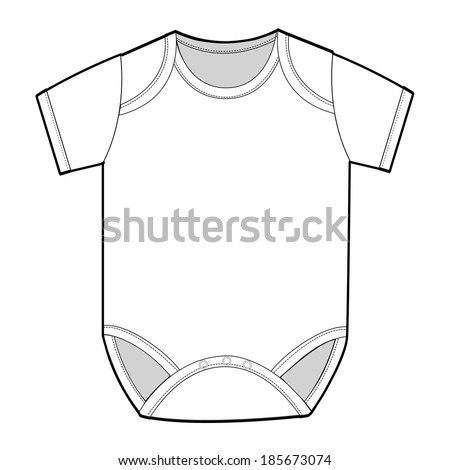 Short Sleeve Infant Bodysuit - stock vector