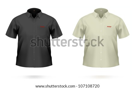 Short sleeved men's SHIRT in black & khaki color. VECTOR illustration, created with attention to details. - stock vector
