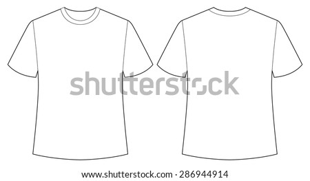 Short sleeves white shirt back and front view - stock vector