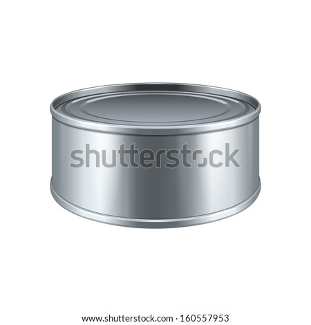 Short Tincan Metal Tin Can, Canned Food. Ready For Your Design. Product Packing Vector EPS10