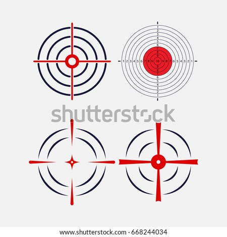 Shot at the target, exact hit, image for the hunt, exactly in the target, logo for the shooting gallery, vector image