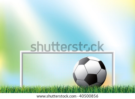 shot of a soccer ball on a field - stock vector