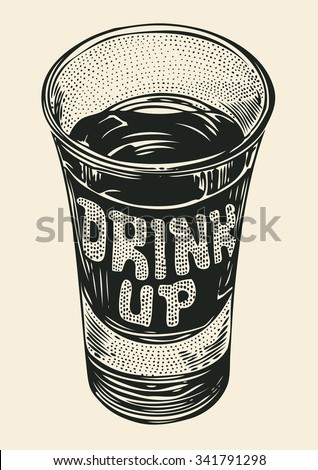 shot of alcohol strong drink. hand drawn design element. engraving style. vector illustration