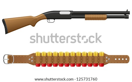 shotgun and shells in bandoliers vector illustration isolated on white background - stock vector