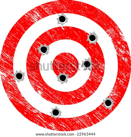Shotgun Approach to Hitting the Target (Grunge Vector) - stock vector