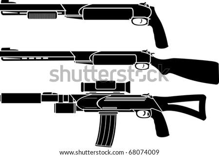 shotgun, gun and rifle. stencil. vector illustration - stock vector