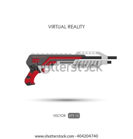 Shotgun. Gun for virtual reality system. Video game weapons. Video game guns. Vector illustration - stock vector