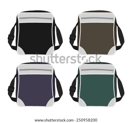Shoulder bags set. Black, brown, purple, green. Color vector clip art illustrations isolated on white - stock vector