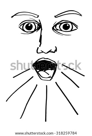 shout mouth face expression eyes drawing drawings art arts graphic graphic vector vectors abstract abstraction design designs line lines sketch sketches artwork element elements