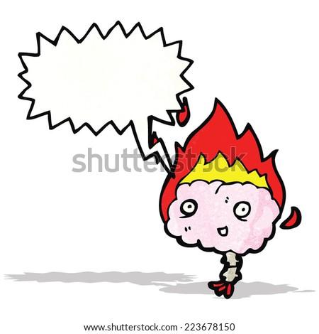 shouting brain cartoon - stock vector