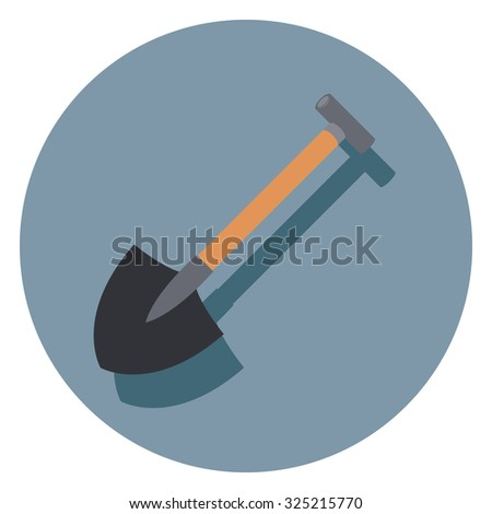 shovel flat icon in circle - stock vector