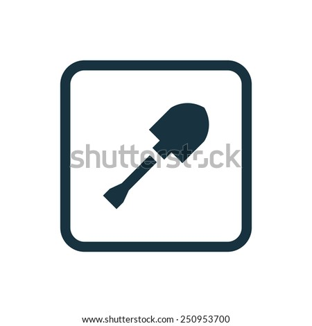 shovel icon Rounded squares button, on white background  - stock vector