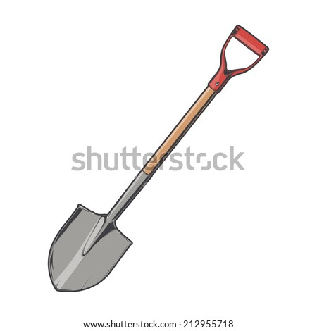 Shovel isolated on a white background. Color line art. Retro design. Vector illustration. - stock vector