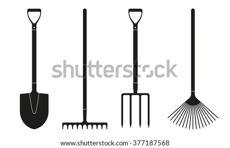 Shovel or spade, rake and pitchfork icons isolated on white background. Gardening tools design. Vector illustration. - stock vector
