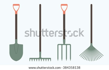 Shovel or spade, rake and pitchfork icons isolated on white background. Gardening tools design. Colorful vector illustration. - stock vector