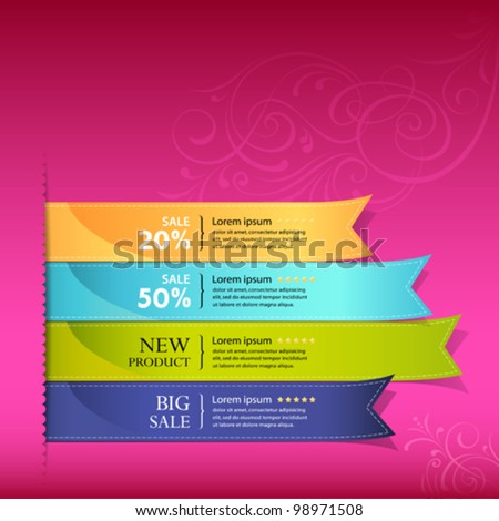 Show colorful ribbon promotional products design, vector illustration - stock vector