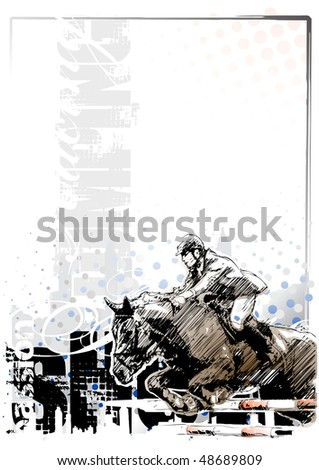 show jumping background 1 - stock vector
