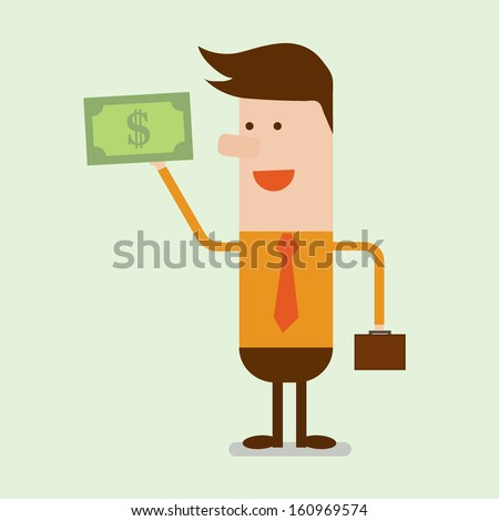 Show me money, business man showing money in his hand - stock vector