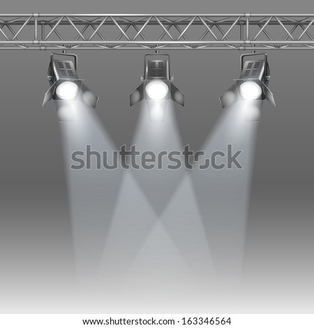 Show stage shined with projectors vector illustration - stock vector