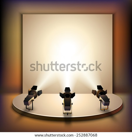 Show studio film scene empty stage interior with spotlights realistic vector illustration - stock vector
