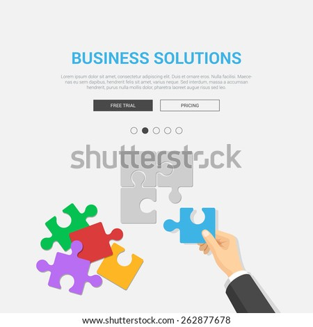 Showcase mockup modern flat design vector illustration concept for business solutions. Hand placing puzzle piece top view workplace desktop table. Web banner promotional materials template collection. - stock vector