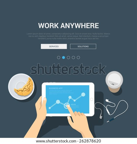 Showcase mockup modern flat design vector illustration concept for work anywhere. Hands touch tablet graphic headphones coffee croissant. Web banner promotional materials template collection. - stock vector
