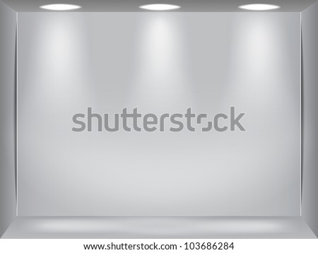 Showcase room with three light sources - stock vector