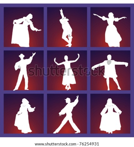 showcase with medieval peoples silhouettes