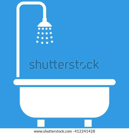 Shower Bath vector icon. Shower Bath icon symbol. Shower Bath icon image. Shower Bath icon picture. Shower Bath pictogram. Flat white shower bath icon. Isolated shower bath icon graphic. - stock vector