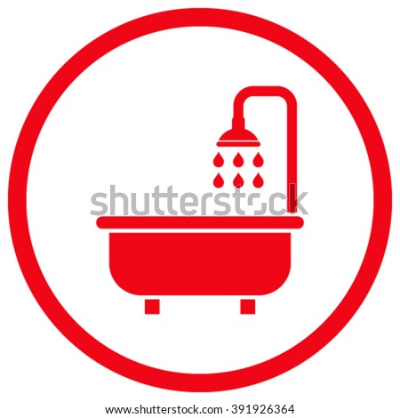 Shower Bath vector icon. Style is flat rounded iconic symbol, shower bath icon is drawn with red color on a white background. - stock vector