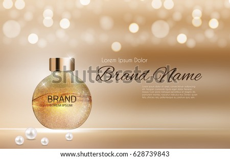 Shower Gel Bottle Template for Ads or Magazine Background. 3D Realistic Vector Iillustration. EPS10