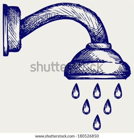 Shower Head. Doodle style - stock vector