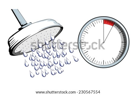 Shower Head Drawing cartoon illustration shower head large water stock vector