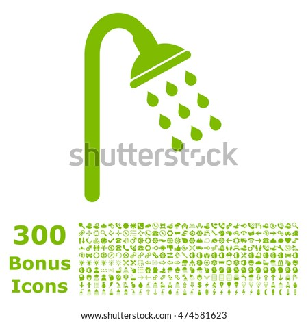 Shower icon with 300 bonus icons. Vector illustration style is flat iconic symbols, eco green color, white background.