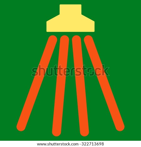 Shower vector icon. Style is bicolor flat symbol, orange and yellow colors, rounded angles, green background. - stock vector