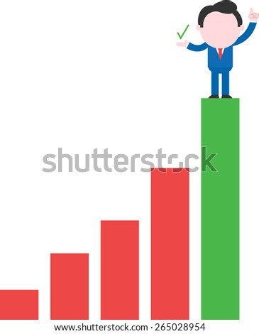 Showing check happy faceless cartoon businessman standing on top rung of bar chart - stock vector